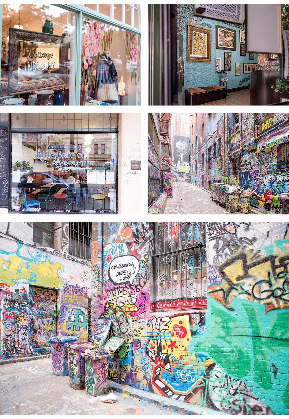 Verschiedene Läden rund um die Gertrude Street, Cottage Industry, Little Café of Awesome, Street Art in der Hooiserlane