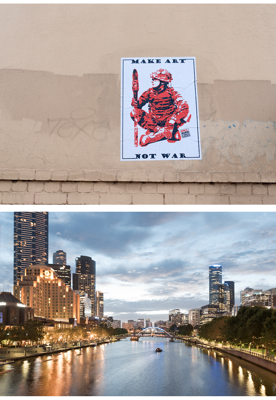 Make Art not War in der Nähe vom Victoria Markt, Yarra River von der Princes Bridge aus