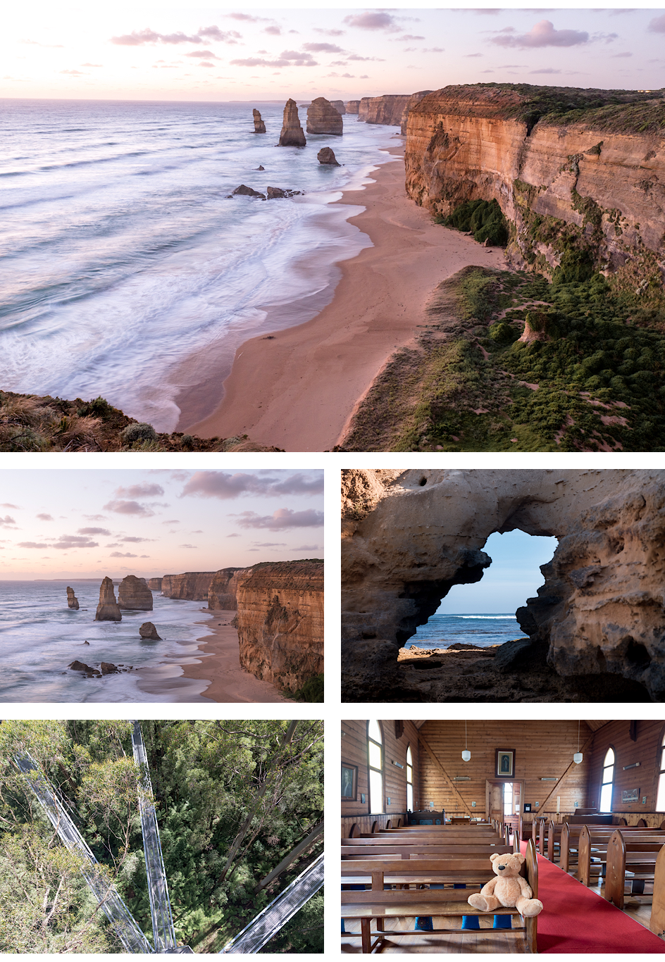 Twelve Apostles und Bay of Islands gelegen an der Great Ocean Road, Otway Fly Treetop Adventures, ein Teddy in einer Kirche