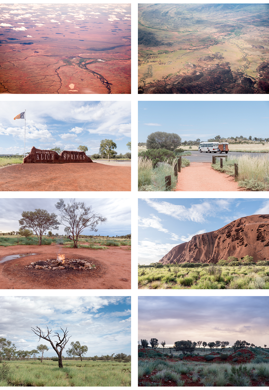 Flug ins Outback, Alice Springs, unser Tour-Bus, unser Schlafplatz, Uluru, Nationalpark